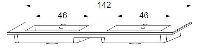 table halo double vasque integree en ceramique urban blanc 140 cm sanijura ref 551968