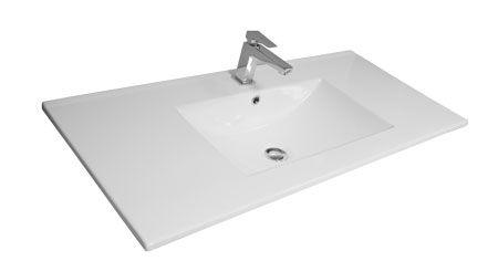 plan vasque luna 100cm ceramique blanc decotec ref 1790331