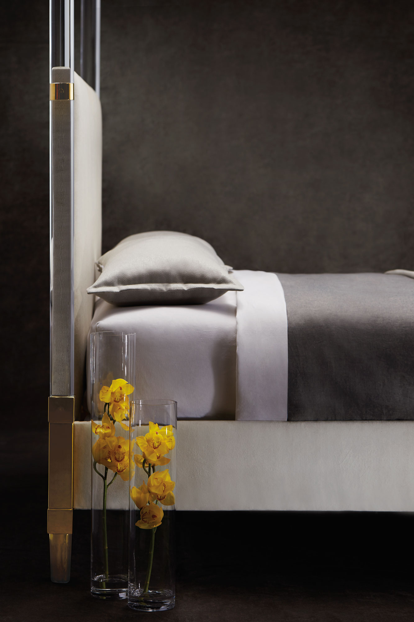 Acrylic Canopy Upholstered King Bed