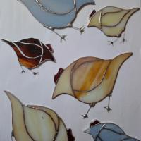 stained glass hens