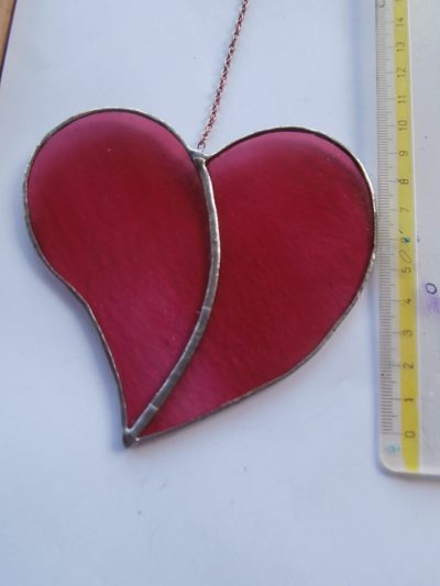 two piece stained glass heart