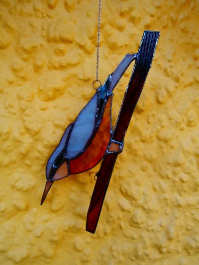 stained glass nuthatch