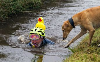 this cute dog followed his human and encouraged him on both legs of the bog