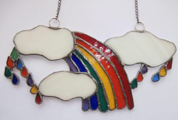 Rainbow tears, stained glass light catcher, suncatcher