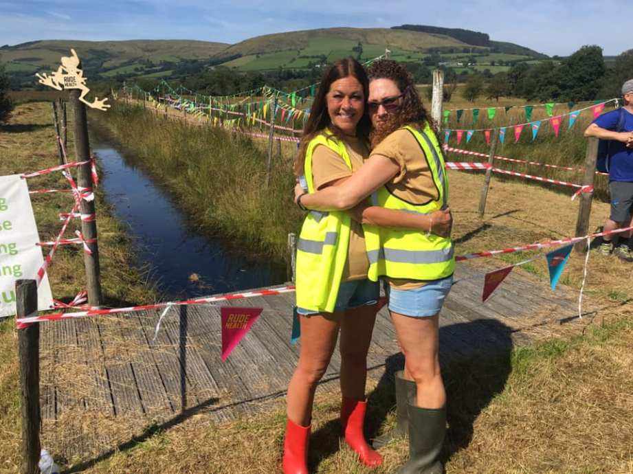 Sister Jill and Bestie Amanda, doing a spot of cuddling and event marshaling