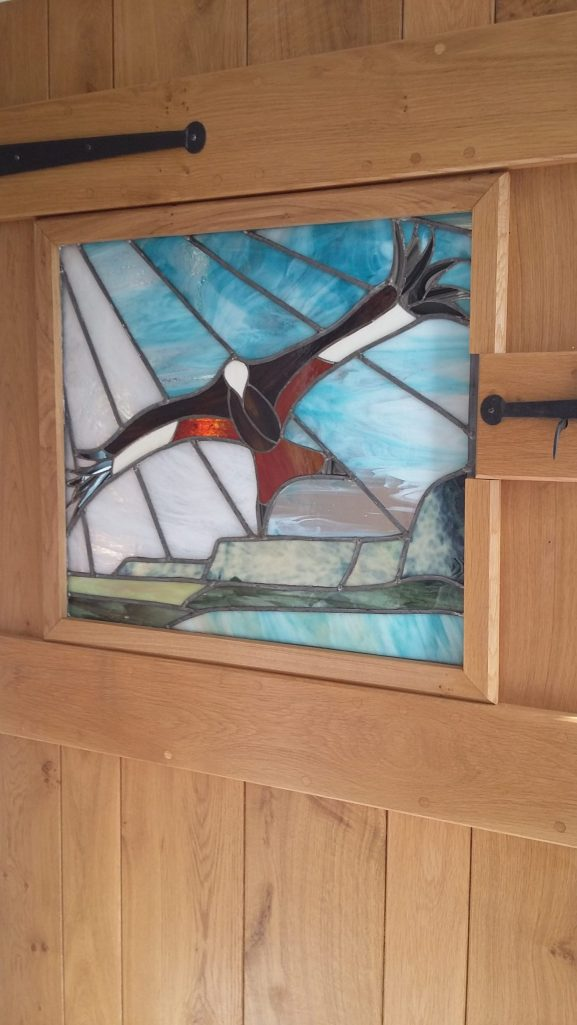 stained glass window panel, red kite over lyn y fan fach, myddfai