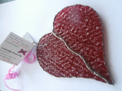 stained glass red heart from rippled glass