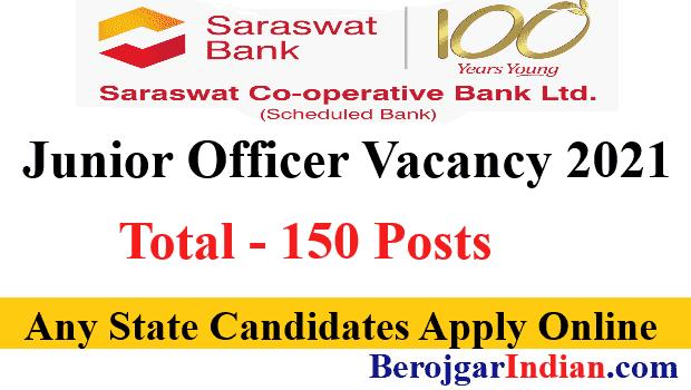 Saraswat Bank Recruitment 2021 Junior Officer Grade B Apply Online form Vacancy