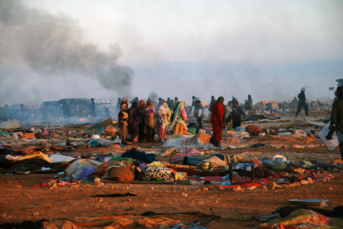 Gdeim Izikeko kanpalekua, Mendebaldeko Saharan. Marokok 2010eko azaroaren 8an desegin zuen kanpalekua.