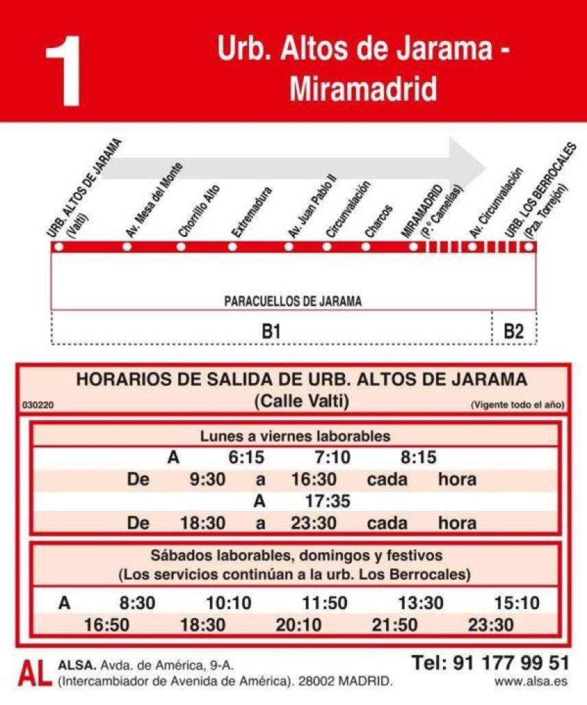 Horario autobuses Miramadrid_Los Berrocales