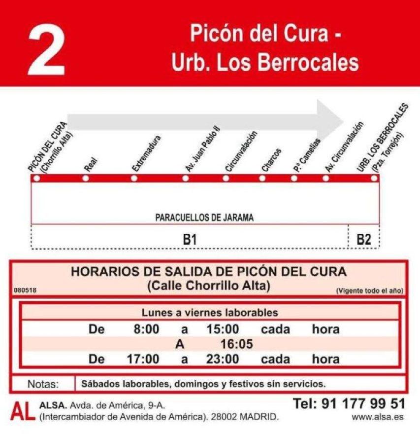 Horario autobuses Paracuellos-Los Berrocales