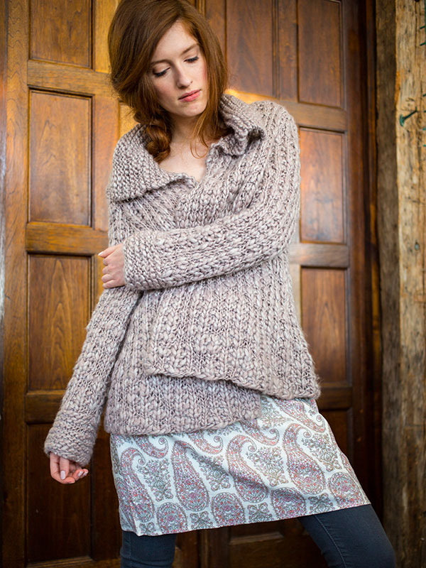 Caelum cardigan knitting pattern in Berroco Gusto
