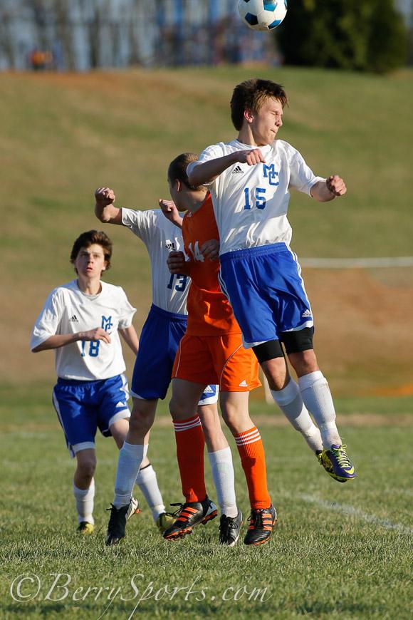 April 08, 2014.   MCHS Varsity Boy's Soccer vs Clarke.