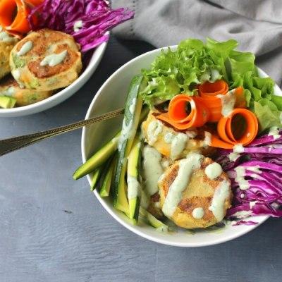 Garlic Ginger Masala Veggie Burger Bowls