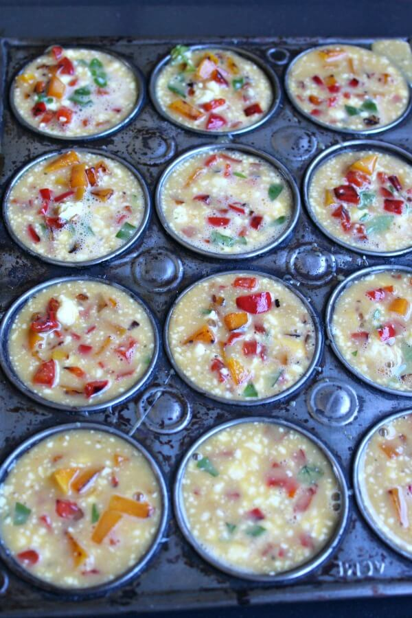 Red Pepper Butternut Basil Egg Muffins. Healthy, delicious breakfast egg muffins that are quick & easy to make. Can be made with any veggies you have on hand | berrysweetlife.com