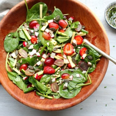 Grape Spinach Zucchini Harvest Salad