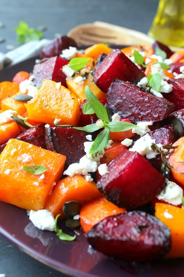Roast Beet Butternut Basil Goat Cheese Salad. Packed with superfood nutrients, flavour and a feast for the eyes, this is a DELICIOUS, easy salad that will wow your guests | berrysweetlife.com