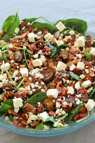 Balsamic Mushroom Bacon Spinach Salad