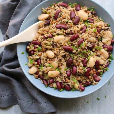 Warm Brown Rice Lentil Kidney Bean Salad