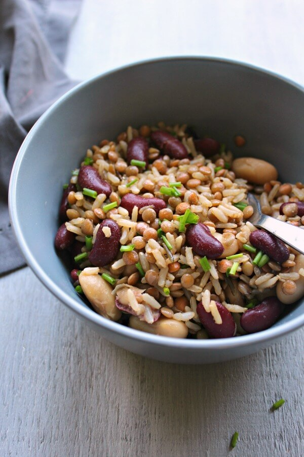 Warm Brown Rice Lentil Kidney Bean Salad. A healthy, quick & easy salad recipe that is perfect as a light main, or delicious side dish | berrysweetlife.com