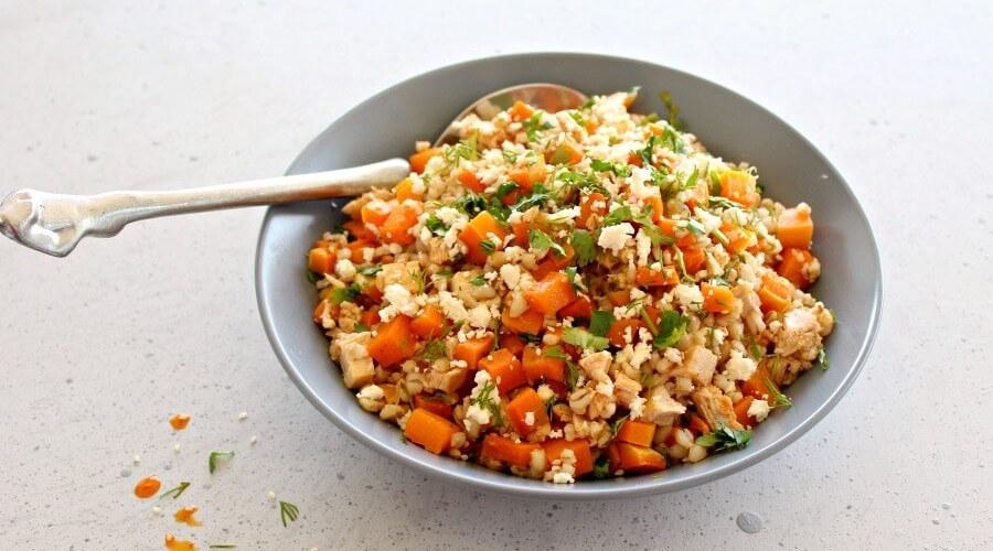 Sesame Chicken Butternut Barley Salad