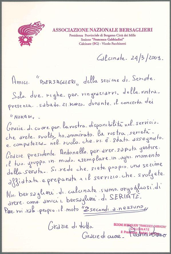 Lettera della sezione bersaglieri di Calcinate