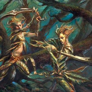 Dave Kendall � Magic the Gathering windslayer elves 16.5 by 12 inches Comic Art