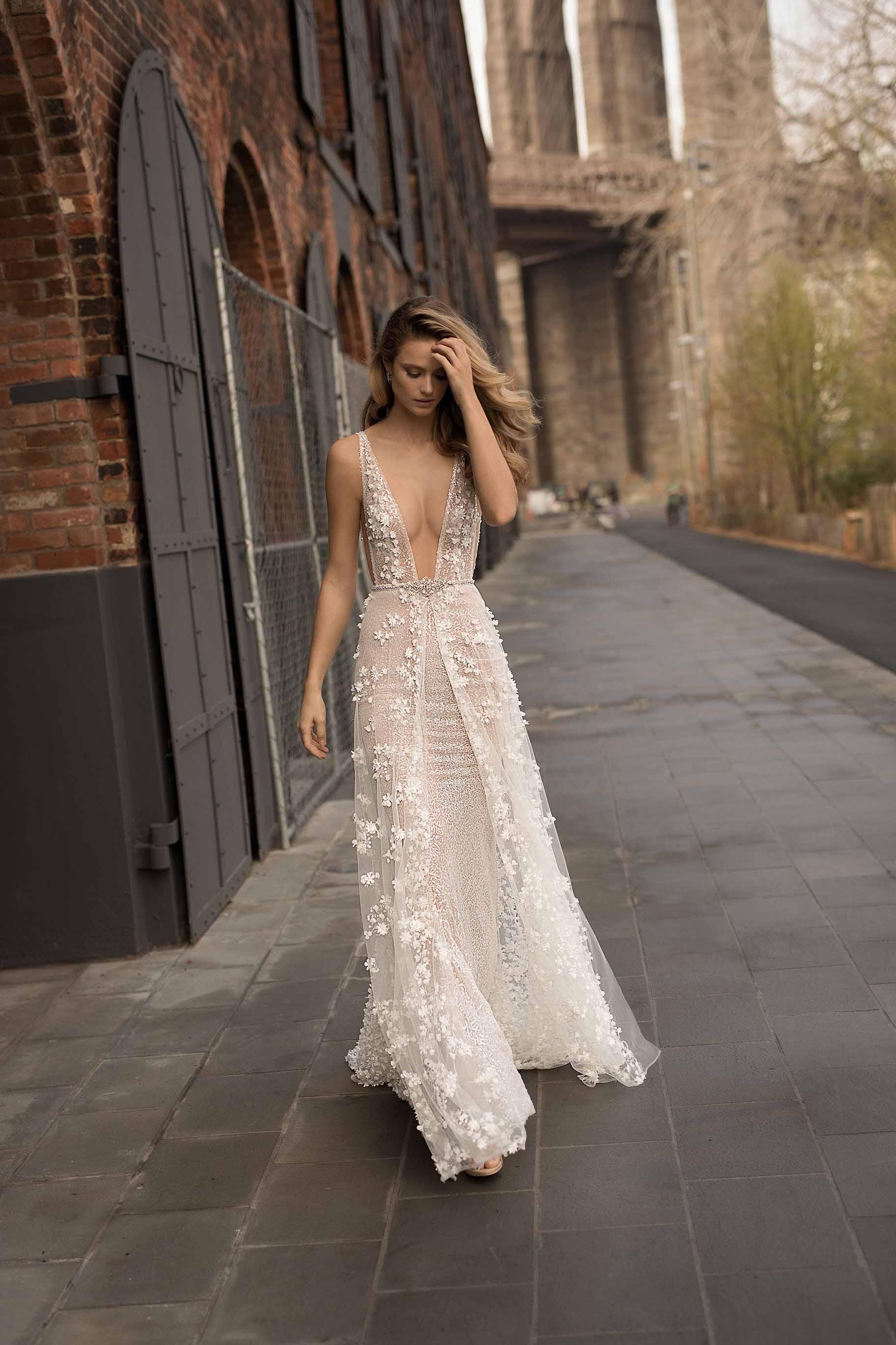 berta spring 2018 bridal sleeveless deep plunging v neck full embellishment sexy romantic a  line wedding dress pockets open scoop back chapel train (4) mv