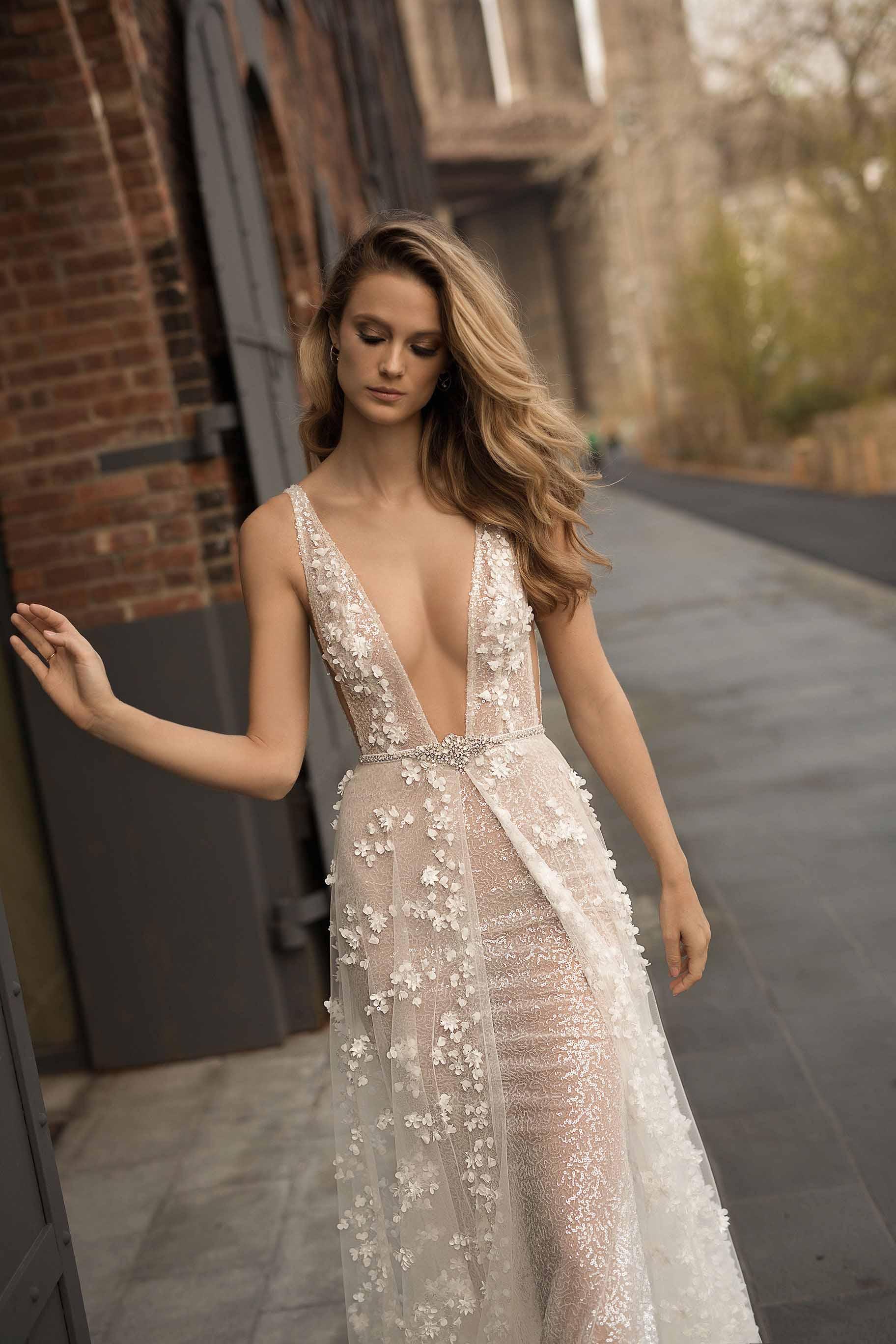 berta spring 2018 bridal sleeveless deep plunging v neck full embellishment sexy romantic a  line wedding dress pockets open scoop back chapel train (4) zv