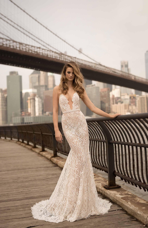berta spring 2018 bridal sleeveless halter neck deep plunging v neck full embellishment elegant sexy sheath wedding dress open back medium train (13) mv