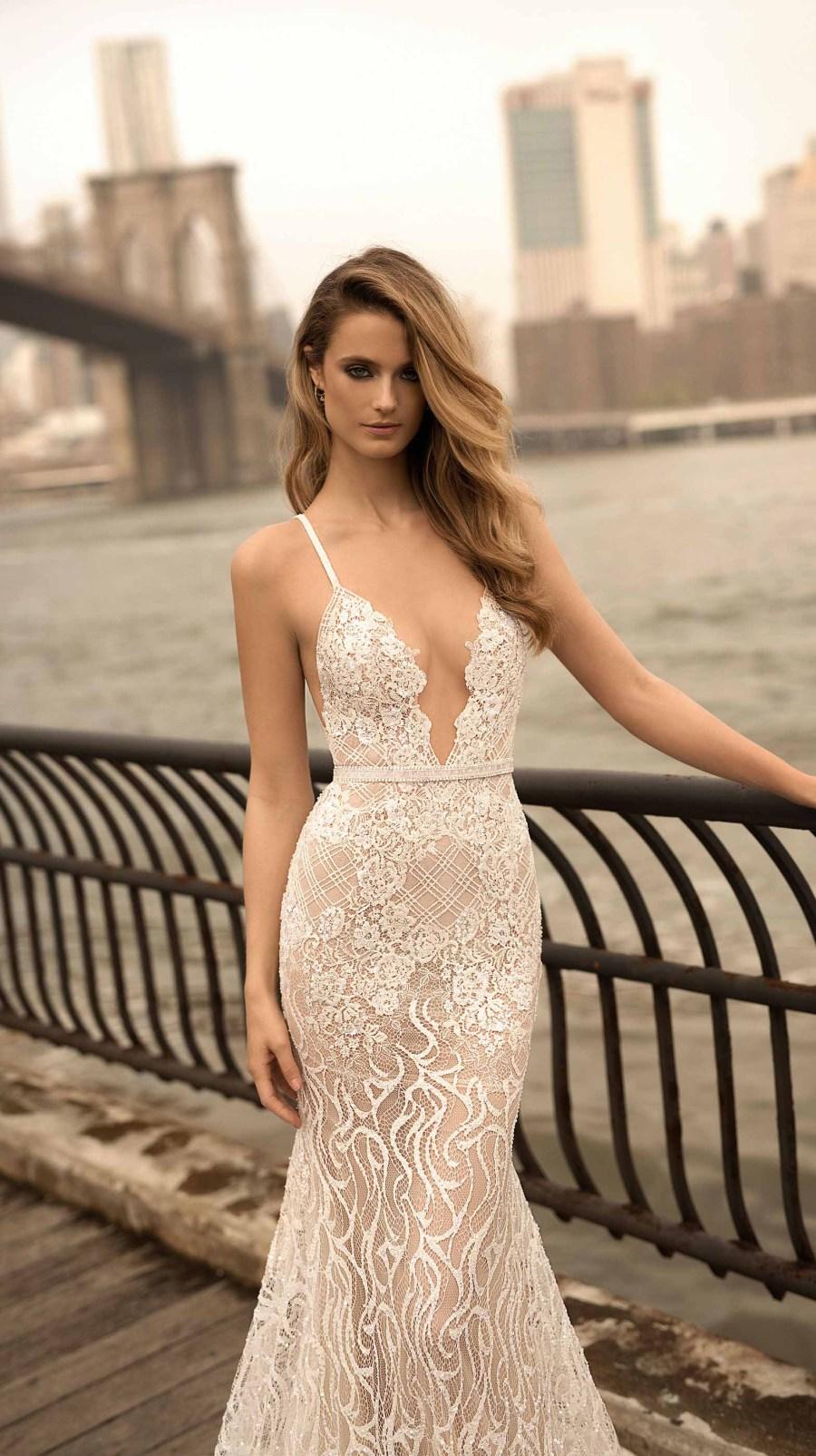 berta spring 2018 bridal sleeveless deep plunging v neck full embellishment sexy a  line wedding dress open back sweep train (14) mv