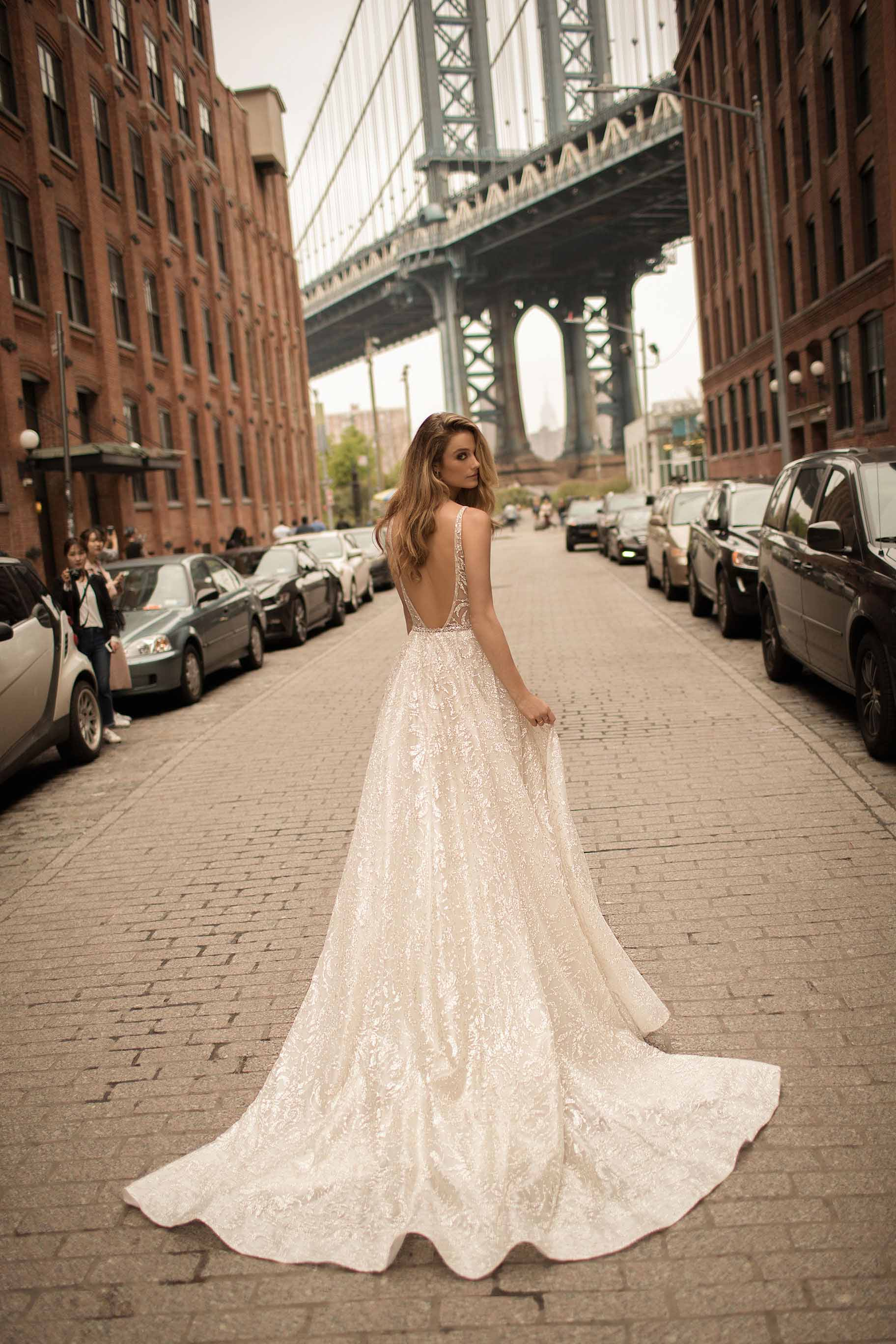 berta spring 2018 bridal spaghetti strap deep plunging v neck full embellishment sexy romantic a  line wedding dress open back chapel train (1) zv