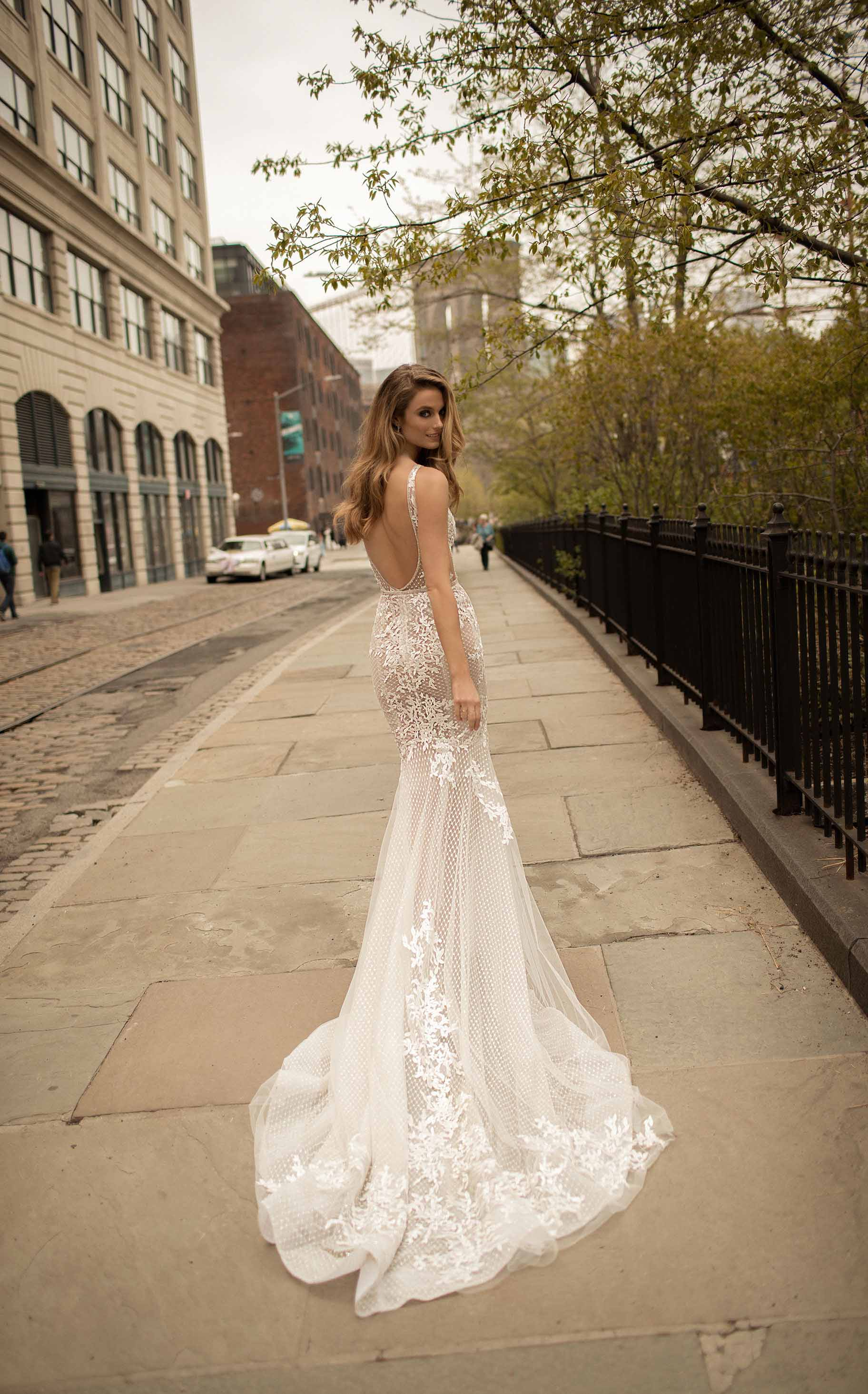 berta spring 2018 bridal spaghetti strap deep v neck full embellishment sexy romantic a  line wedding dress open back chapel train (2) bv