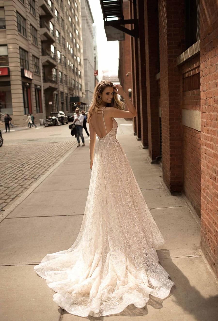 berta spring 2018 bridal strapless deep plunging sweetheart neckline full embellishment sexy romantic peplum a  line wedding dress open back chapel train (9) bv