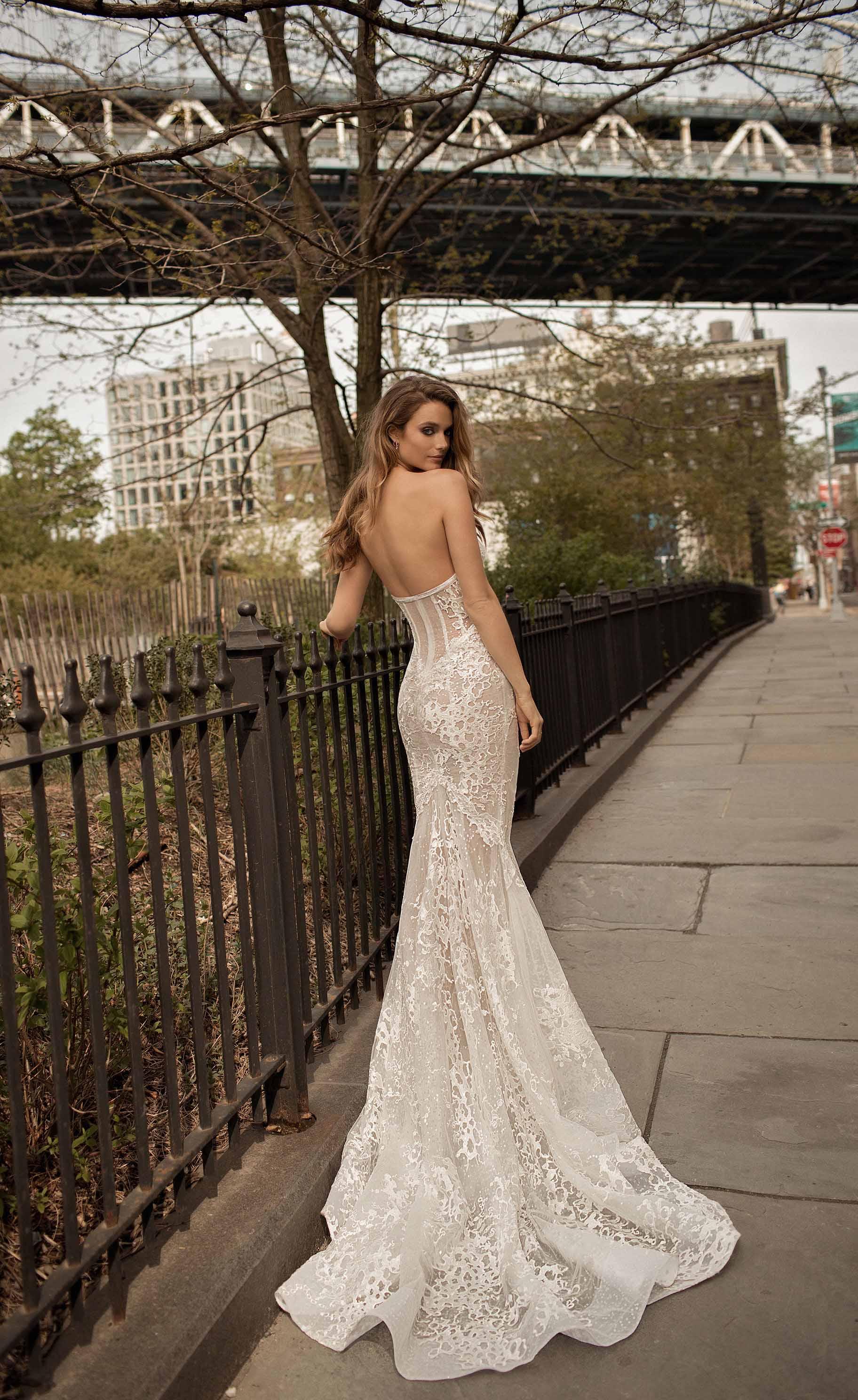 berta spring 2018 bridal strapless sweetheart neckline full embellsihement elegant sexy drop waist a  line wedding dress medium train (8) zv
