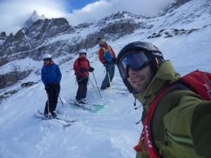Beaux moments de ski sous la face nord de la Meije