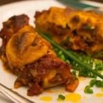 Cannelloni met gehakt van seitan en vegan kaassaus