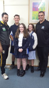 Luke Murray and Kyle Vander Kuyp with students Mali and Tia