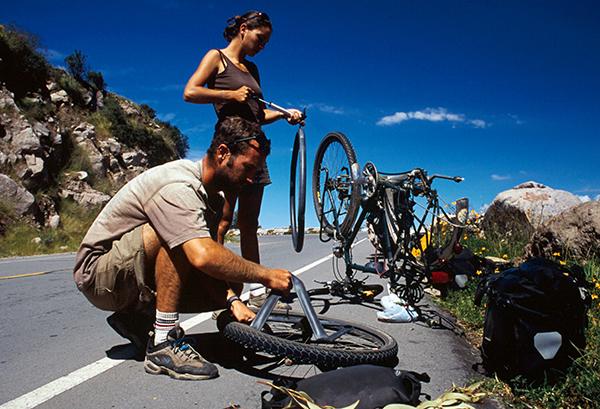 voyage à vélo - crevaison