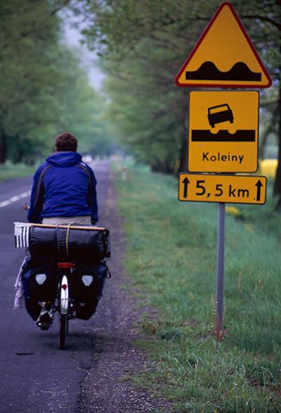 voyage à vélo-panneau route