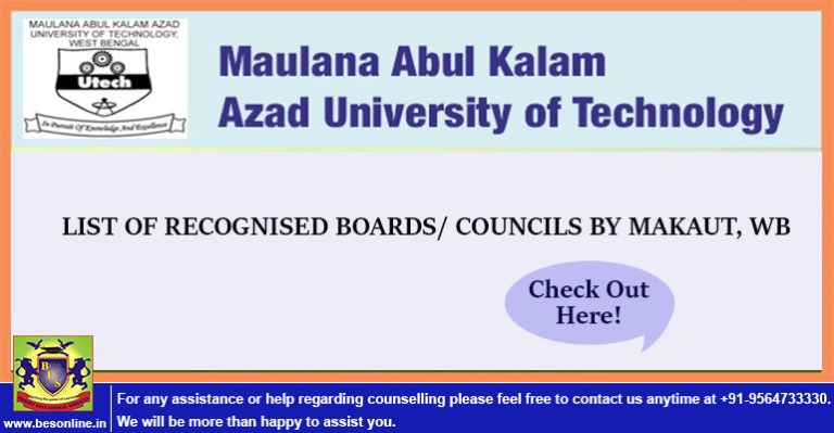 LIST OF RECOGNISED BOARDS/ COUNCILS CONSIDERED FOR ADMISSION BY MAKAUT, WB.