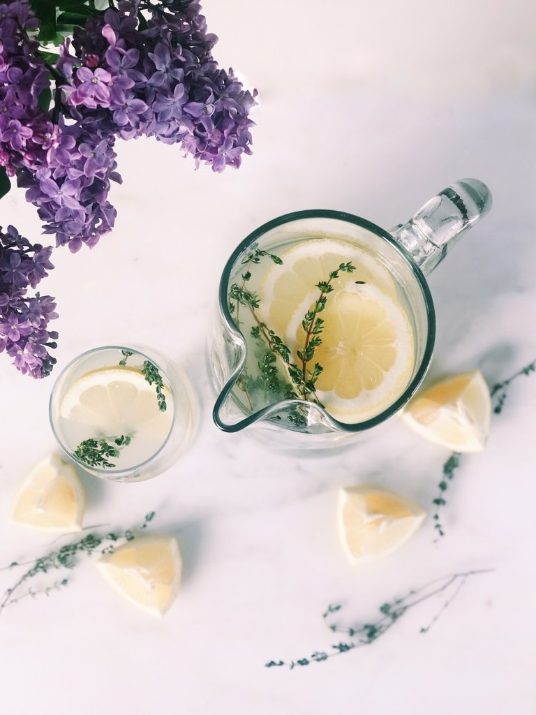 Vodka lemonade with thyme perfect