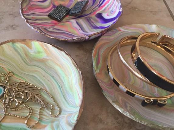 DIY marbled dish clay small plates