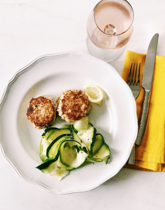 crab cakes with shaved zucchini salad light summer meal