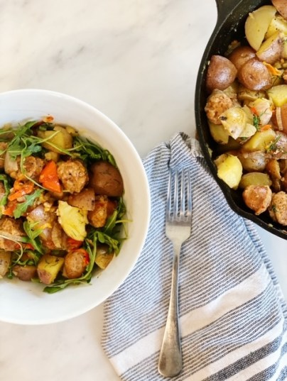 dinner tonight is easy one skillet sausage onions and potatoes from Trader Joe's