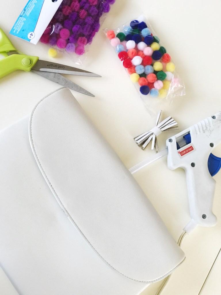 how to diy pom pom clutch tutorial, make your own pom pom clutch