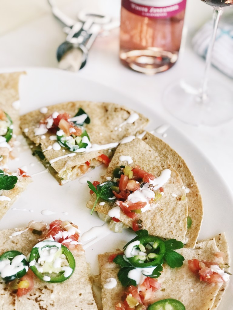 vegetarian quesadilla, with jalapenos and Mexican crema authentic and easy vegetarian quesadilla