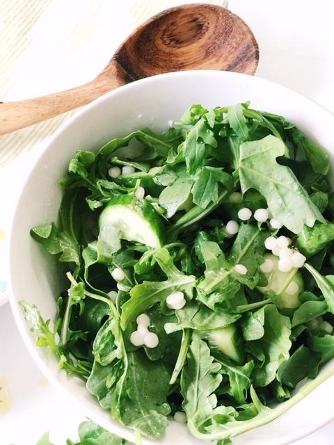 arugula salad and couscous