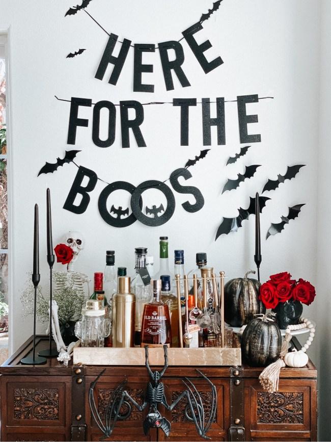 halloween bar cart styling