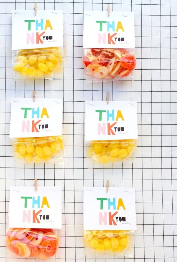 Minted Free Printable COlourful Bag Toppers Thank you